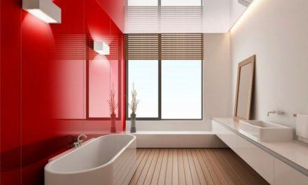 Bad ohne Fliesen moderne Paneelen farbiges Glas