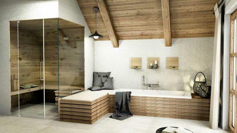 Bad ohne Fliesen Holz als Akzent
