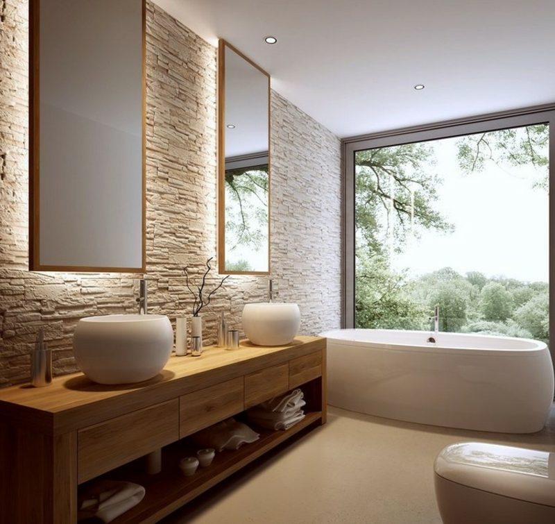 Bad ohne Fliesen Natursteinwand