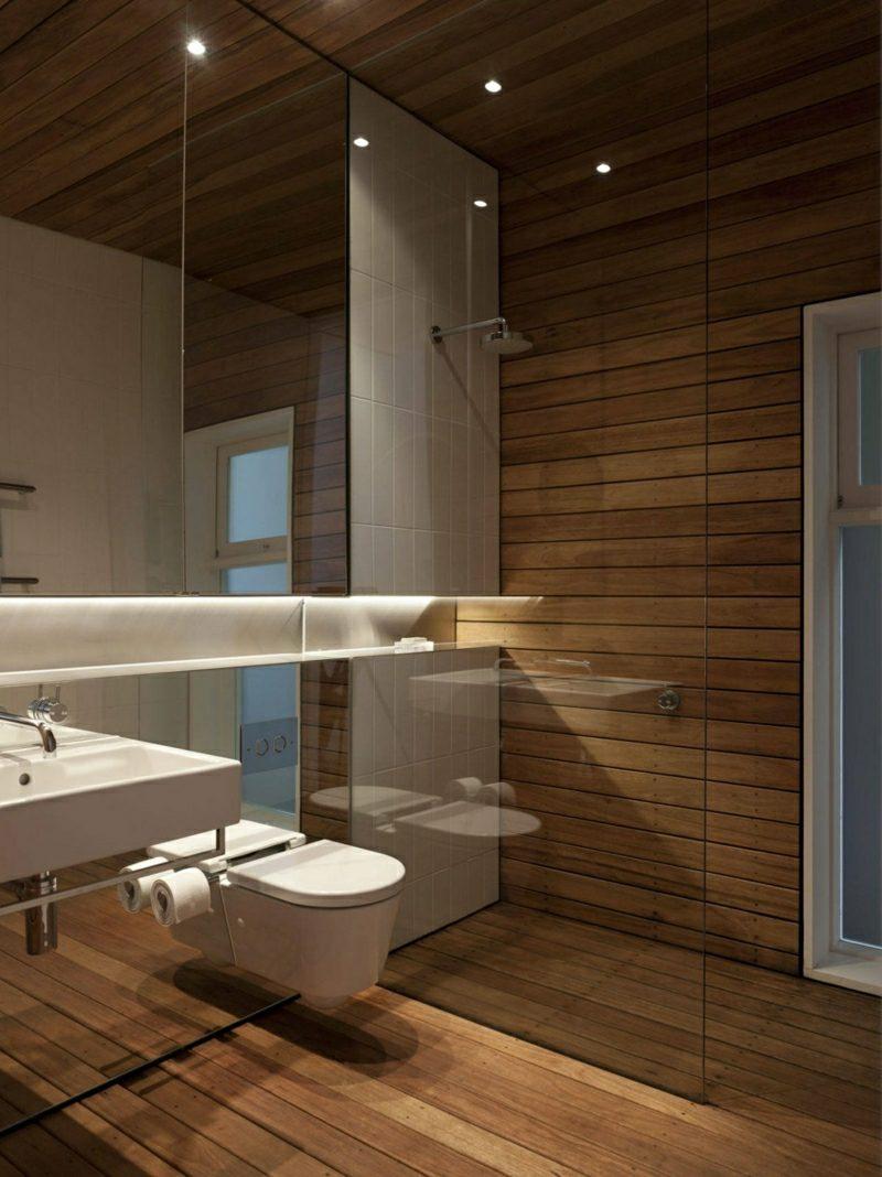 Bad ohne Fliesen Holz Wandverkleidung Boden