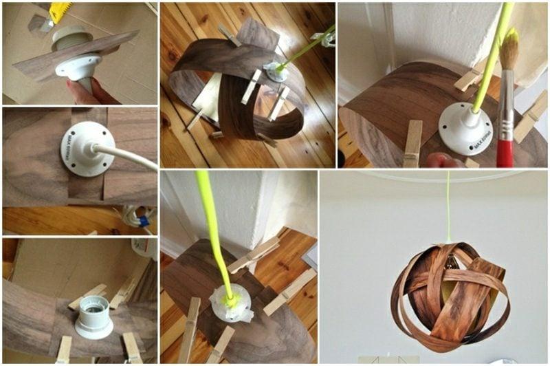 Lampenschirm selber machen DIY Holzfunier