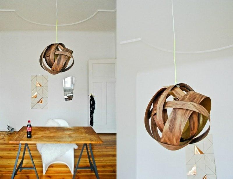 Lampenschirm selber machen Holzfurnier herrlicher Look