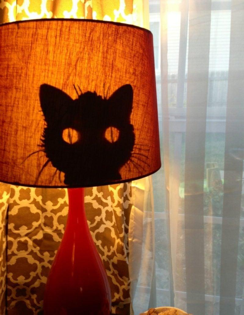 Lampenschirm selber machen Katzensilhouette