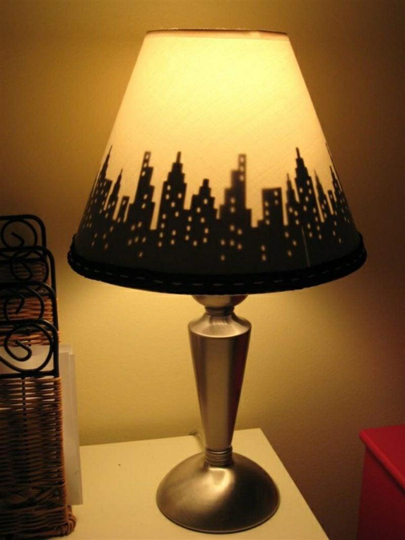 Lampenschirm selber machen tolle Idee Stadtsilhouette