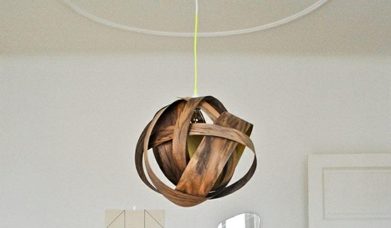 Lampenschirm selber machen Holzfurnier originell stilvoll