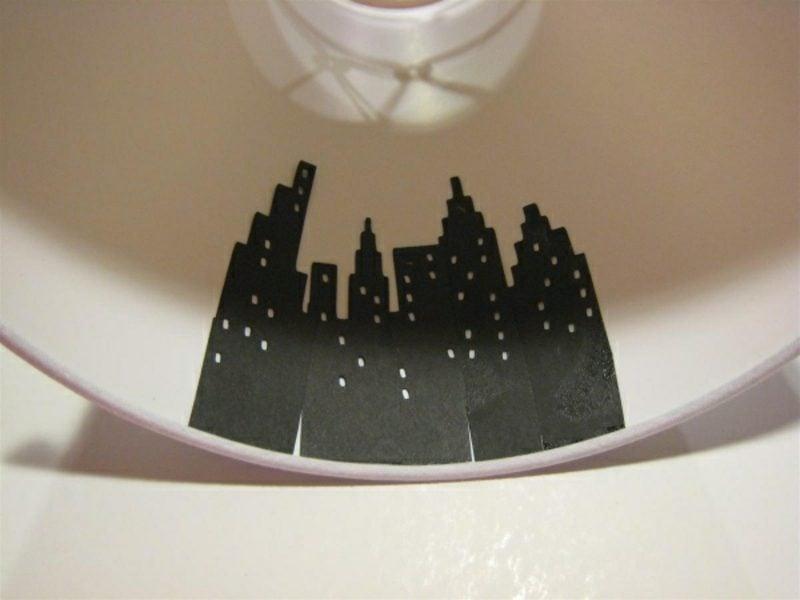 Lampenschirm selber machen und dekorieren Stadtsilhouette
