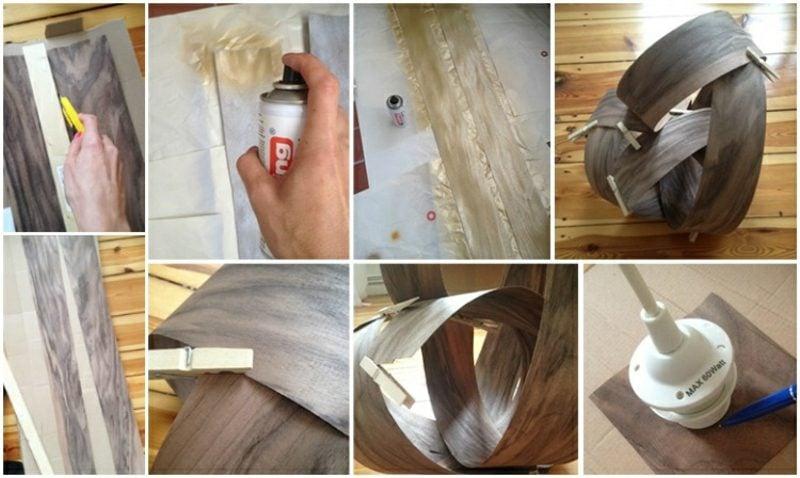 Lampenschirm selber machen aus Holzfurnier