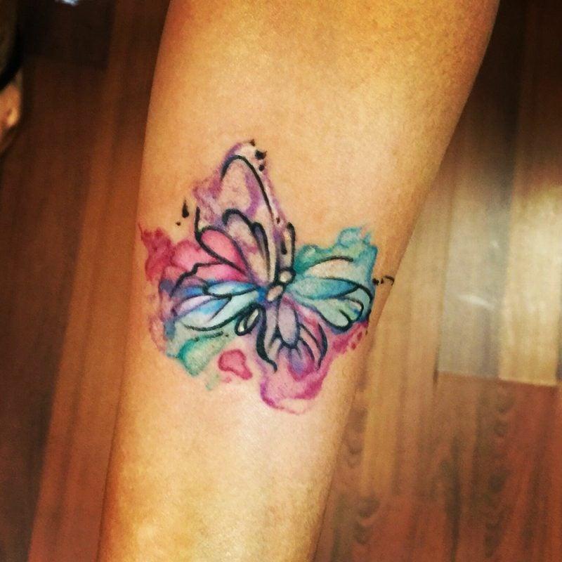 Aquarell Tattoo Schmetterling originelles Design abstrakt