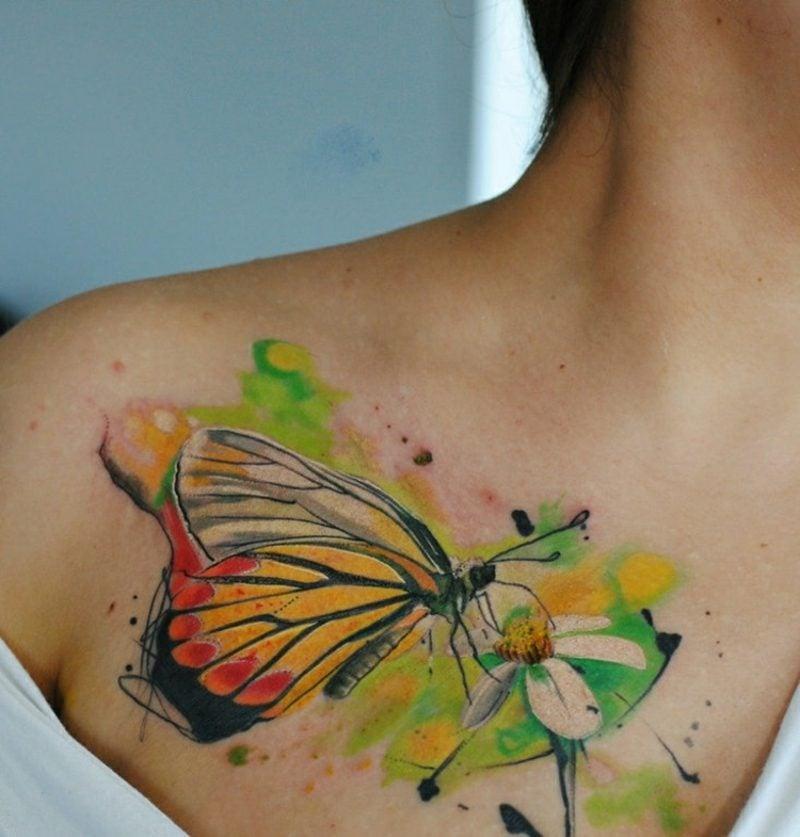 Aquarell Tattoo Schmetterling und Blume
