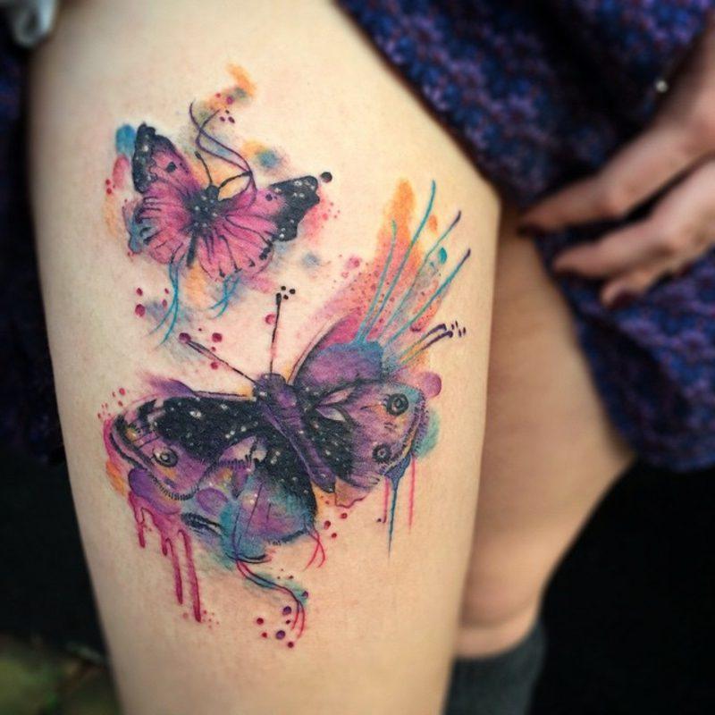 Aquarell Tattoo Schmetterling Arm herrlicher Look