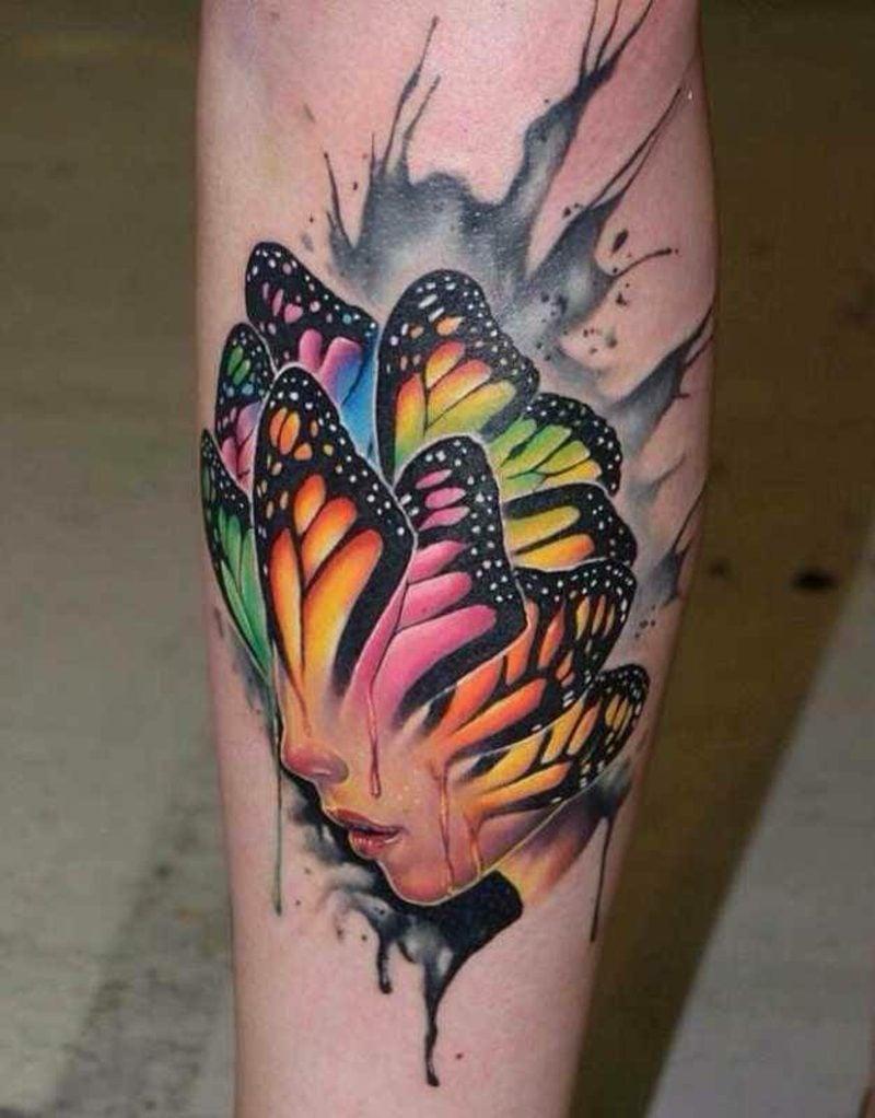 Aquarell Tattoo Schmetterling Frauengesicht