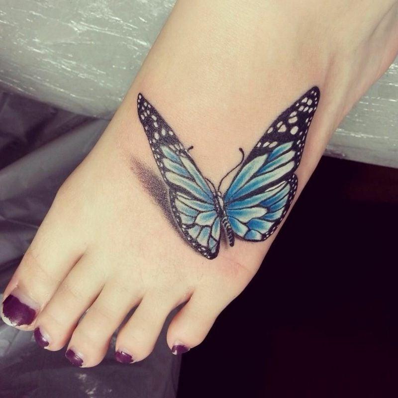 Aquarell Tattoo Schmetterling Fuss stilvoll