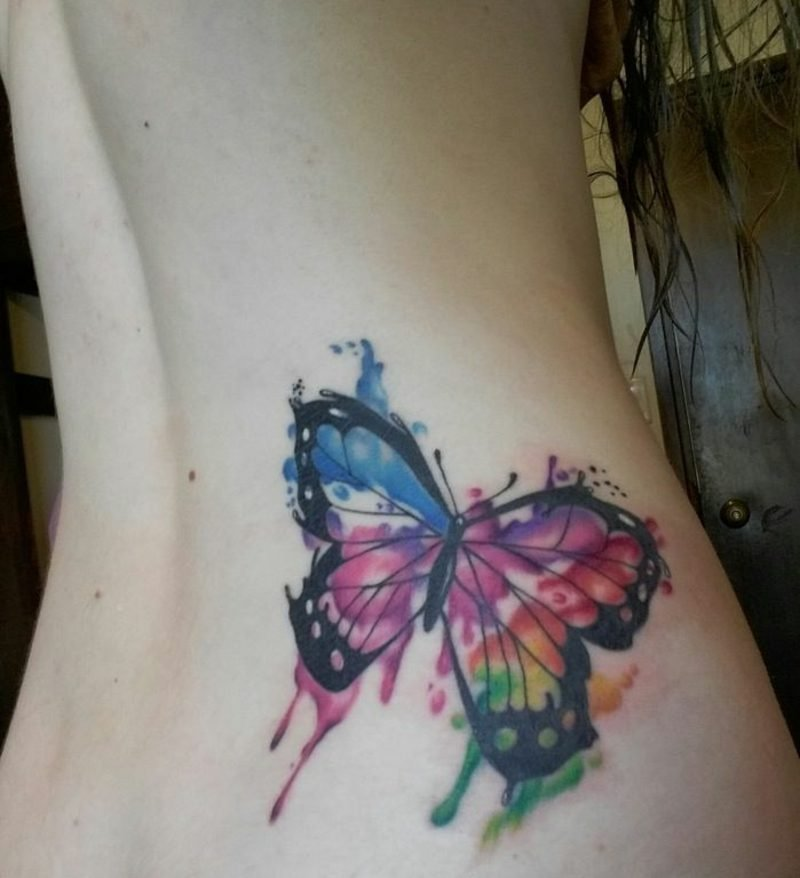 Aquarell Tattoo Schmetterling tolle Optik modern