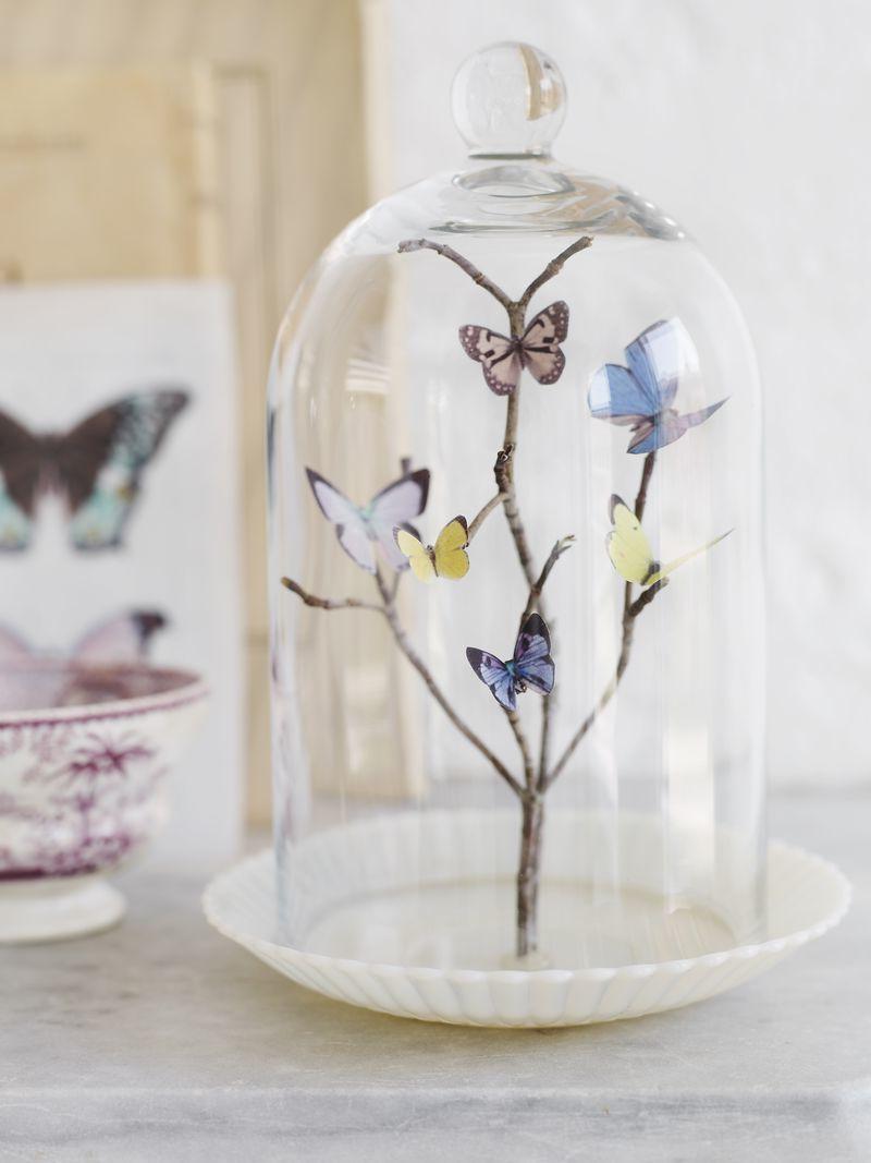 DIY Deko Glocke mit Schmetterlingen