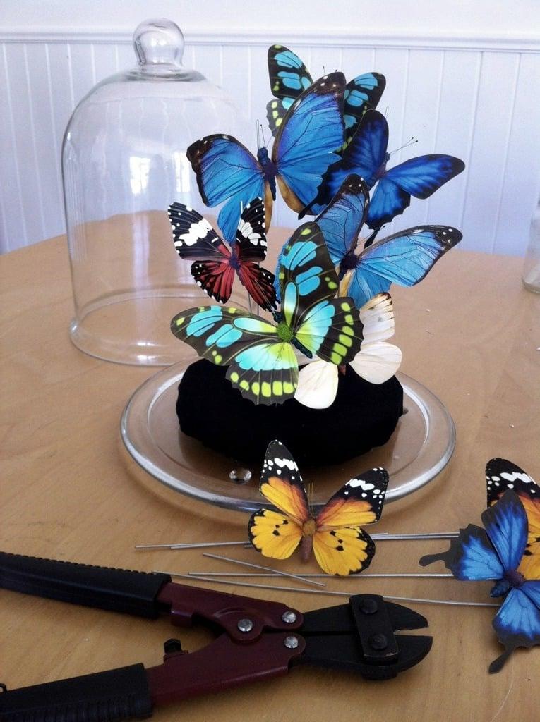 DIY Große Glasgefäß mit Deckel, gefüllt mit farbenfrohen Schmetterlingen