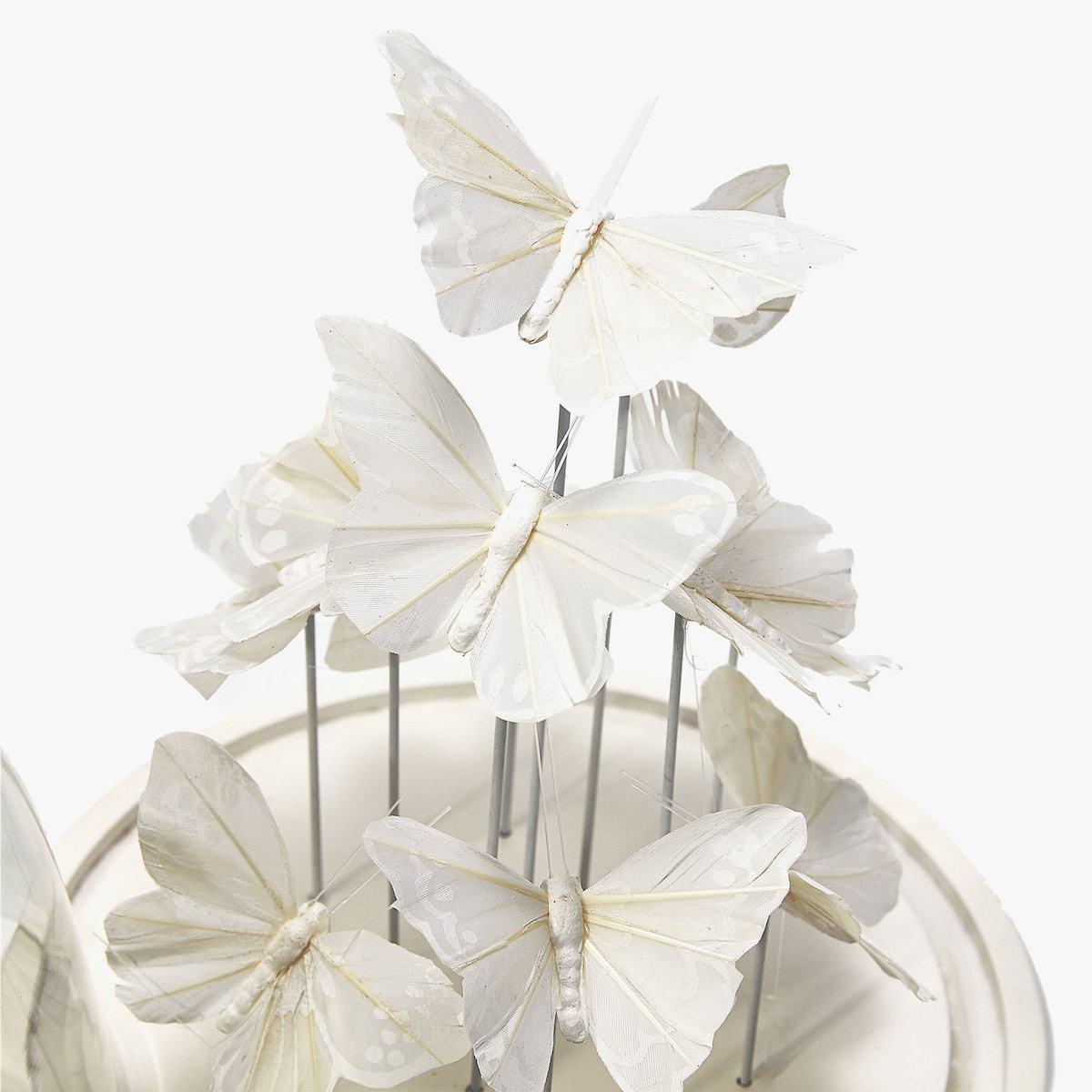 DIY Deko Glocke mit weißen Schmetterlingen
