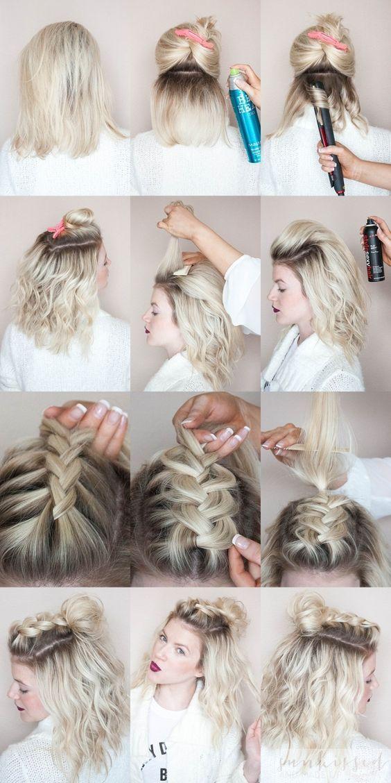 Tolle Inspiration für schulterlange Haare flechten: Einige Variationen vom Bauernzopf