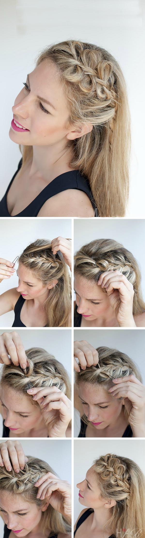 Tolle Frisuren mittellanges Haar: einen seitlichen Zopf flechten