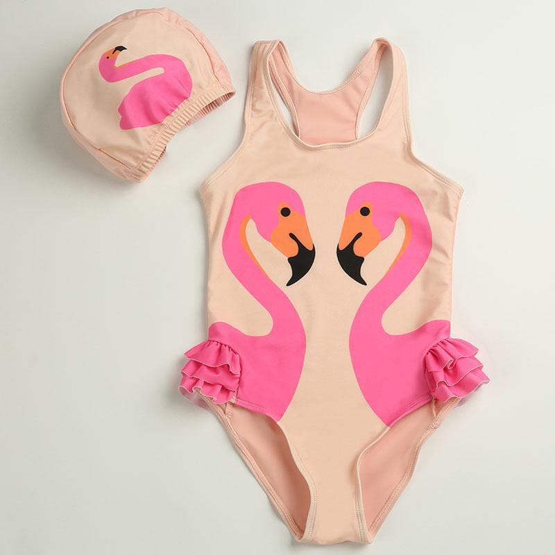 Mädchen Badeanzug und Badehut mit Flamingos