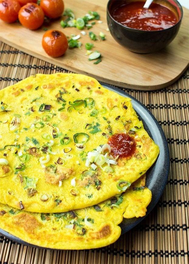 Kichererbsenmehl Rezepte: Low Carb Pfannkuchen Omelette