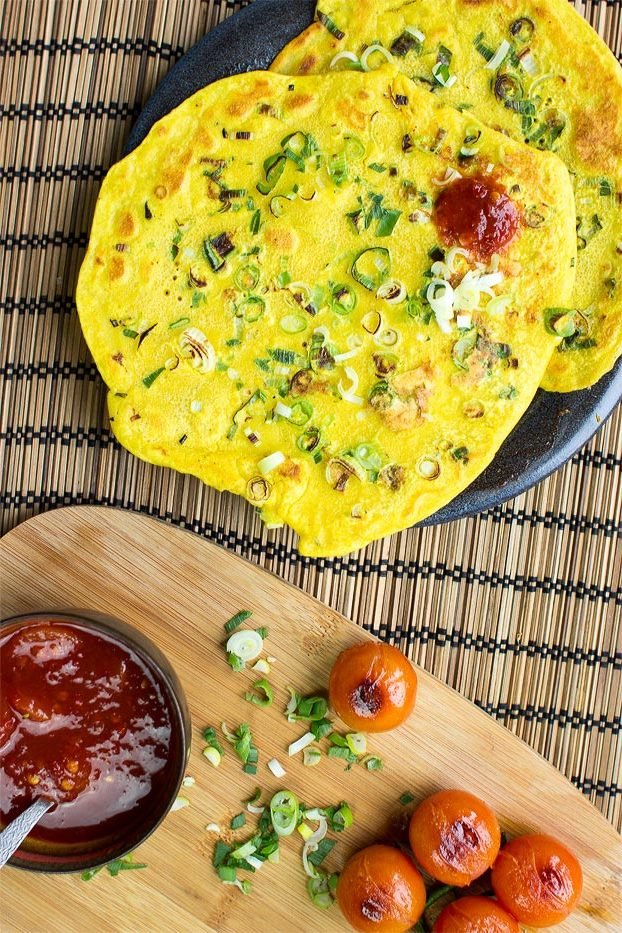 Kichererbsenmehl Rezepte: Omelette Eierkuchen ohne Milch