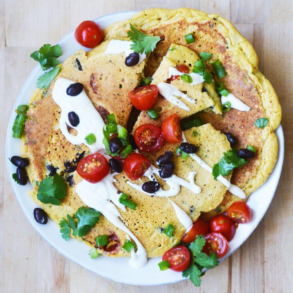 Kichererbsenmehl Rezepte für Frühstück: Omelette Pfannkuchen Low Carb