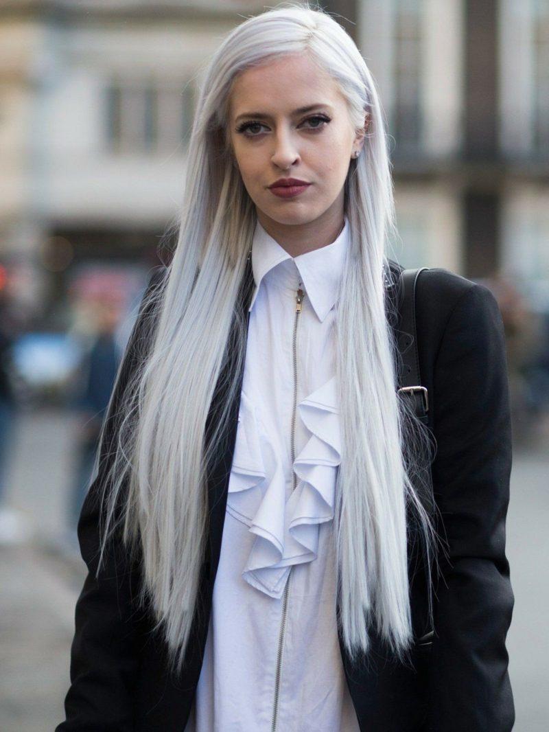 Haare weiβ färben langes Haar