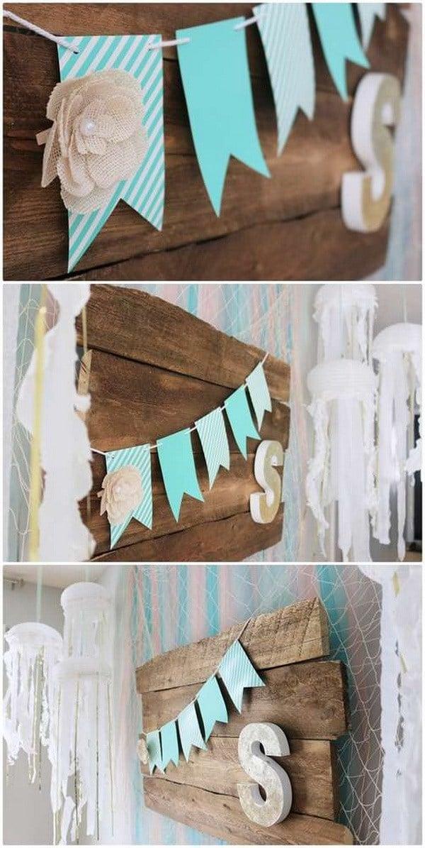 DIY Partydekoration Girlande für Meerjungfrau Party
