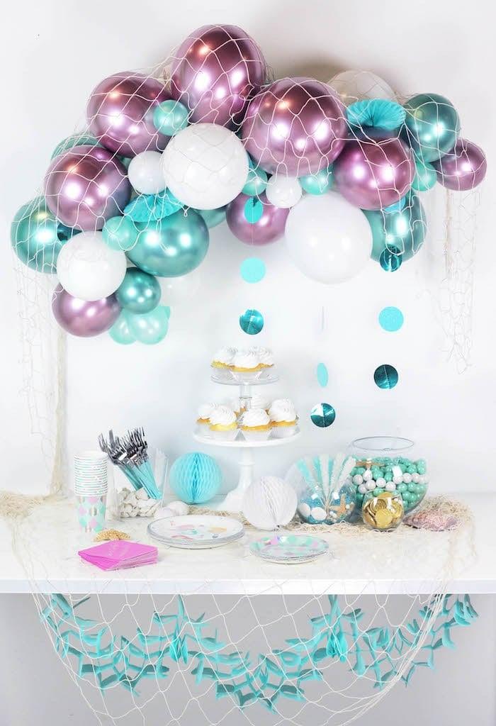 Meerjungfrau Dekoideen für Geburtstagsparty