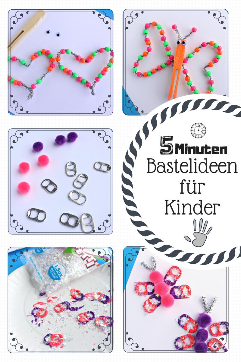 5 Minuten Bastelideen für Kinder: Schmetterlinge basteln