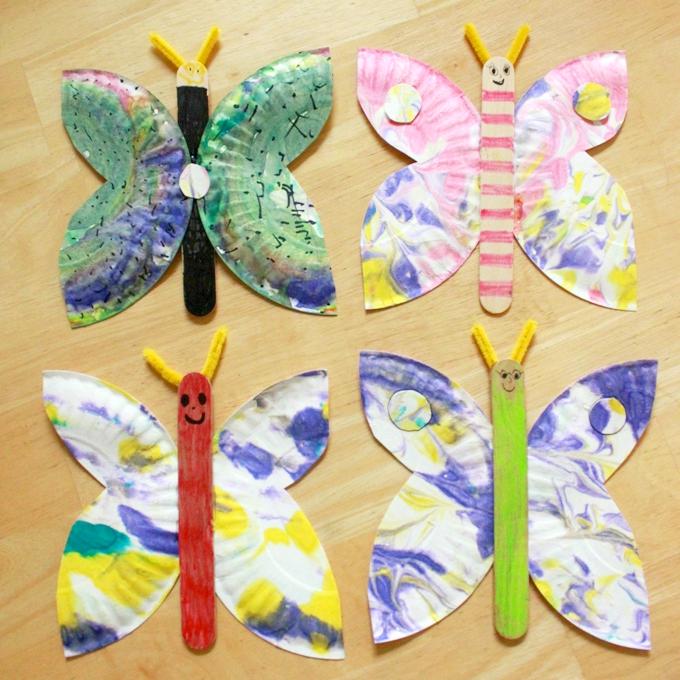 Schmetterlinge Basteln mit Papierteller: Anleitung