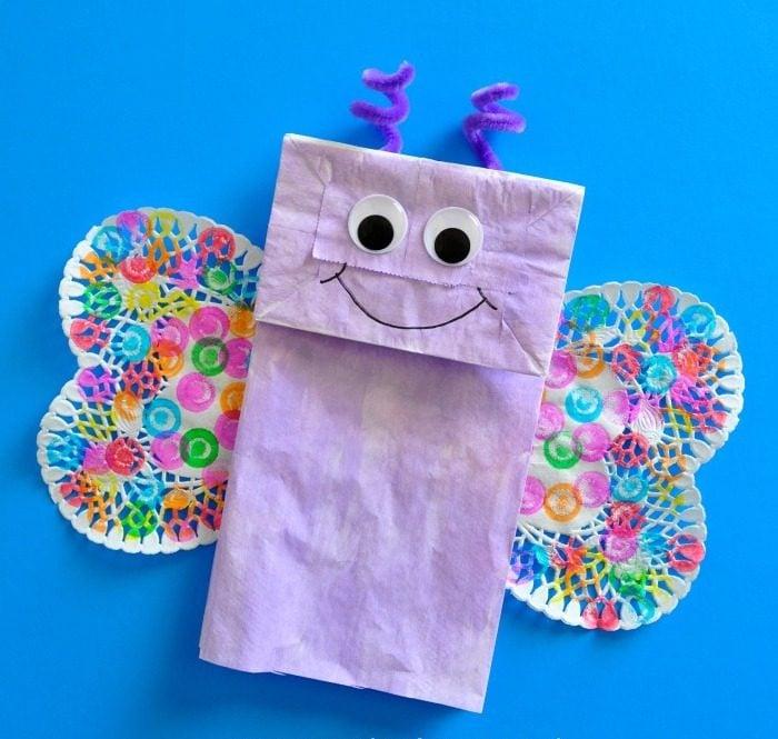 Basteln aus Papier Tüten für 7-jährigen Kinder: Tolle Schmetterling-Tüten zum Essenverpacken für die Schule