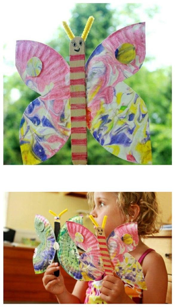 Schmetterlinge Basteln mit Papierteller: Bastelvorlage Bchmetterling