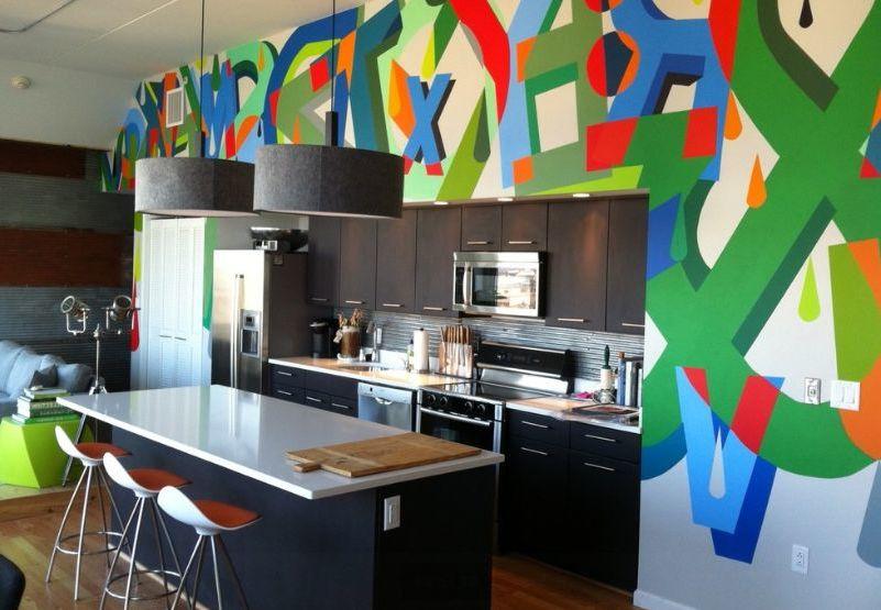 Wand Streichen Ideen mit Graffiti für die Küche