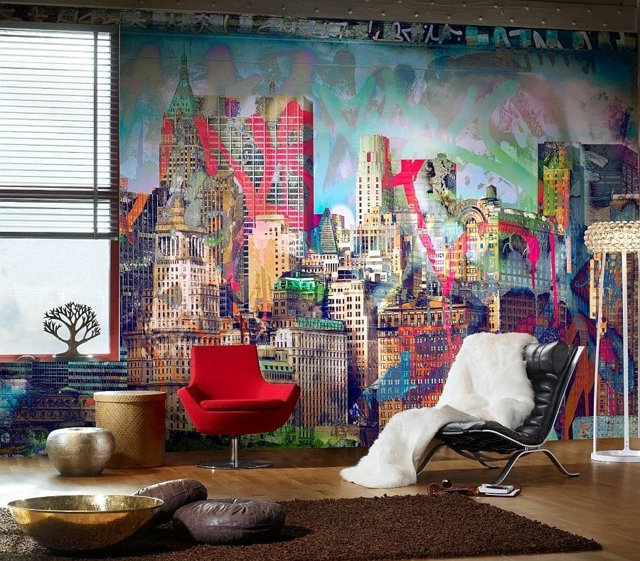 Wohnzimmer Ideen Wandgestaltung mit Graffiti