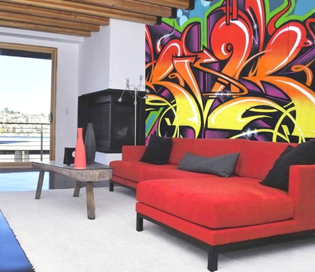 Wandgestaltung Ideen selber machen: Graffiti im Wohnzimmer