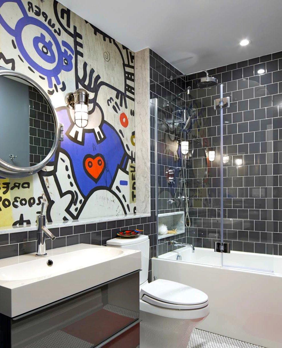 Ausgefallenes Badezimmer: Wandgestaltung Ideen mit Graffiti
