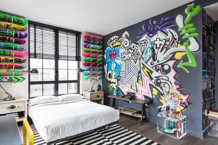 Wand Streichen Ideen mit Graffiti fürs Schlafzimmer