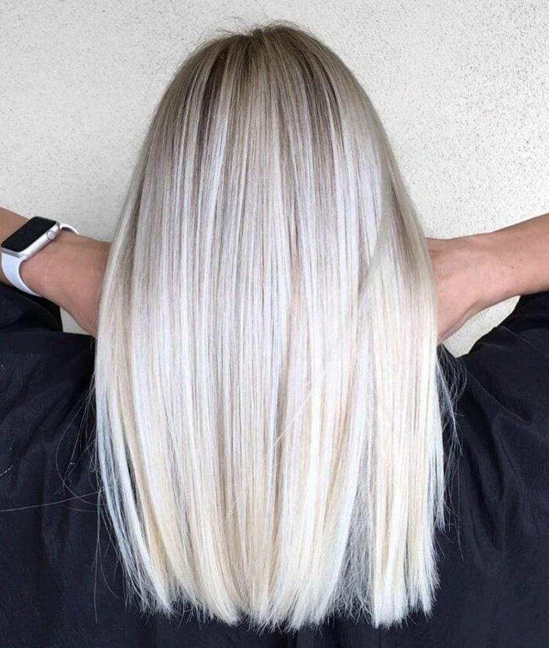 Haare weiβ färben Ombre Effekt leicht