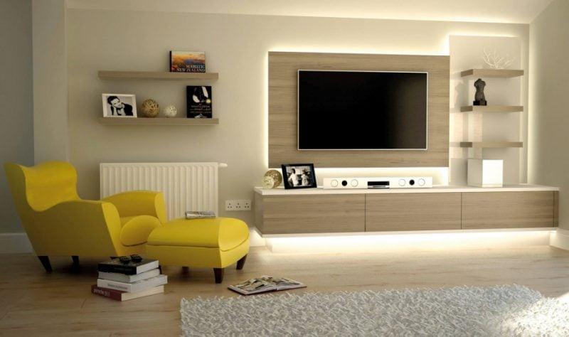 Holzverblender im Wohnzimmer für eine natürliche Atmosphäre
