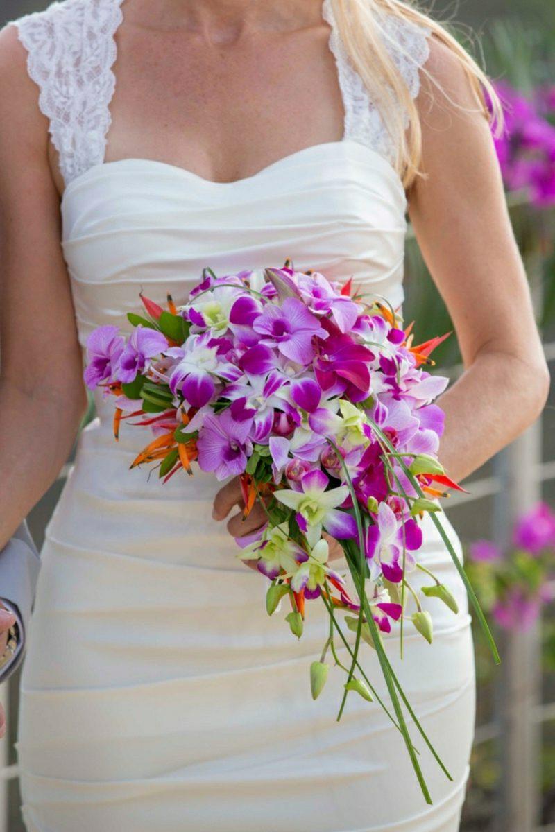 Brautstrauβ Wasserfall Orchideen Violett