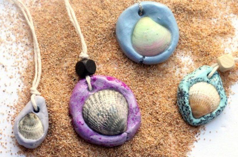 Bastelideen für Erwachsene Sommer Halskette Muscheln