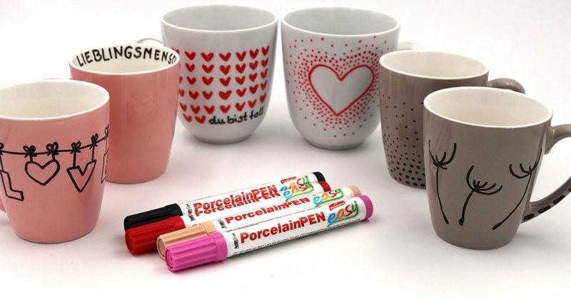 Geburtstagsgeschenk beste Freundin Porzellan Tassen bemalen