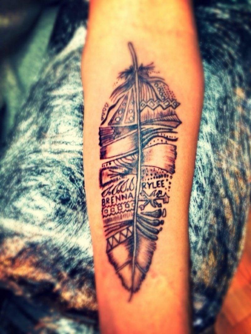 Feder Tattoos Tribal Unterarm toller Look