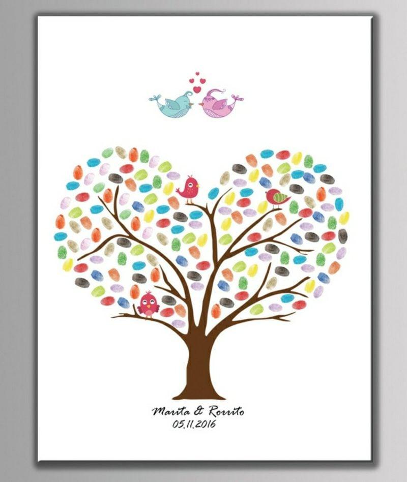 Fingerabdrücke mit Kindern machen Baum Krone Herz