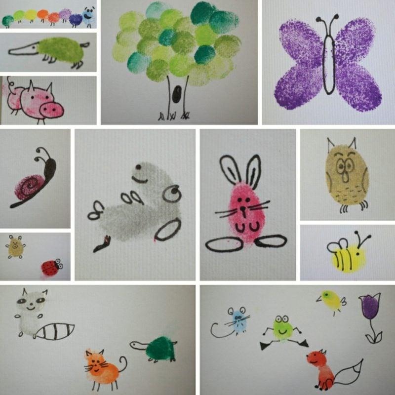 Fingerabdrücke mit Kindern machen Tierfiguren