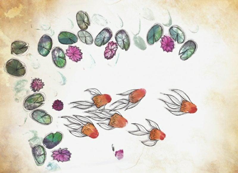 Fingerabdrücke mit Kindern machen Fische Seerosen
