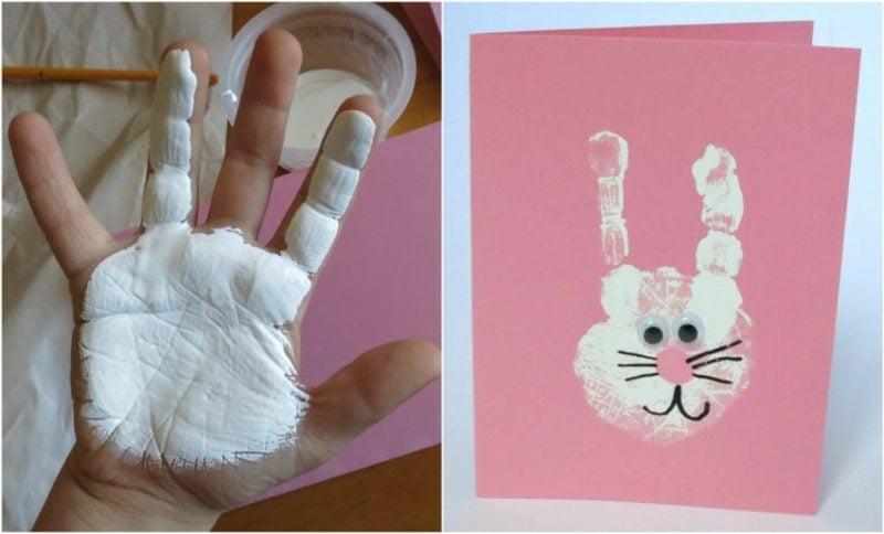 Fingerabdrücke mit Kindern machen Hase Ostern