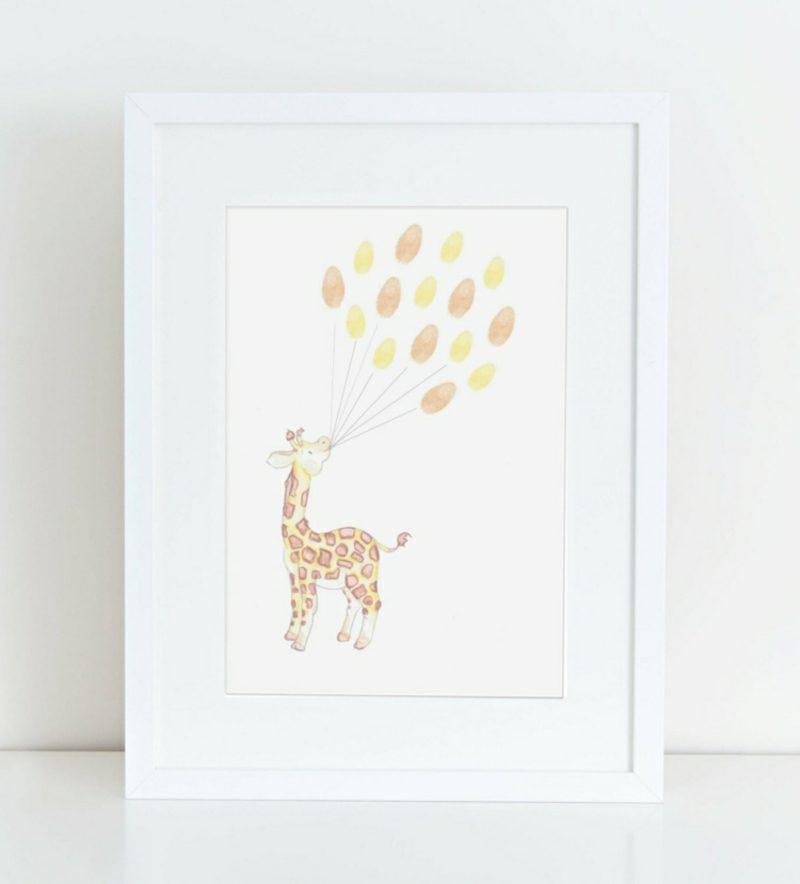 Fingerabdrücke mit Kindern machen Luftballons Giraffe