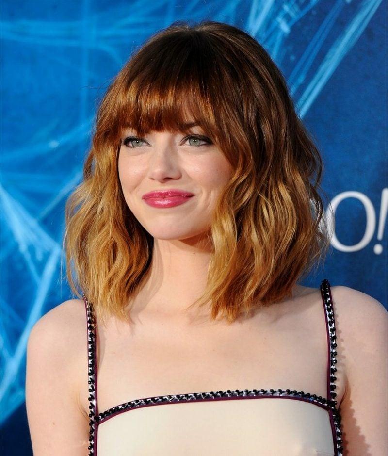 Frisuren halblang stufig Pony Emma Stone
